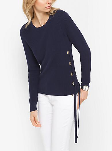 Gerippter Sweater aus Baumwolle mit Schnürung by Michael Kors