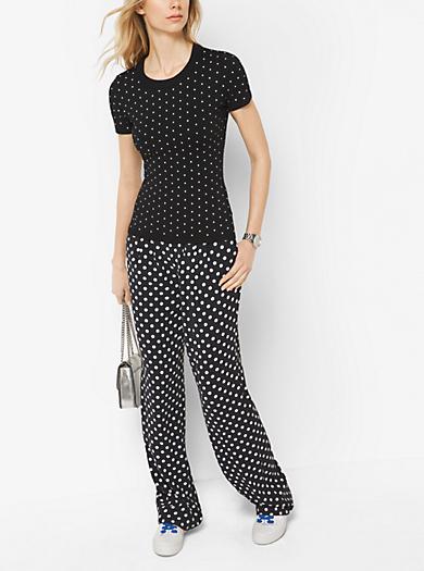 Dot-Studded Short-Sleeve Sweater by Michael Kors