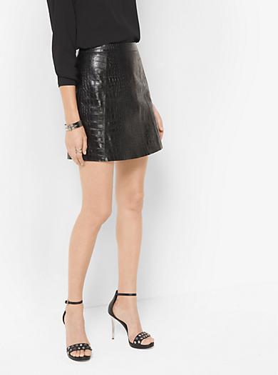Crocodile-Embossed Leather Mini Skirt by Michael Kors