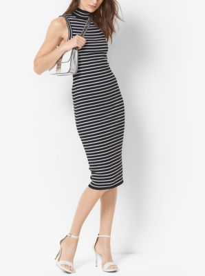 Stretch-Viscose Striped Ribbed Turtleneck Dress by Michael Kors