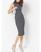 Stretch-Viscose Striped Ribbed Turtleneck Dress