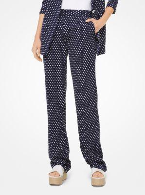 마이클 마이클 코어스 바지 화이트/네이비 Michael Michael Kors Dot Twill Trousers,WHITE/TRUE NAVY