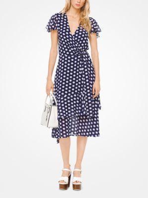 마이클 마이클 코어스 원피스 화이트/네이비 Michael Polka Dot Georgette Wrap Dress,WHITE/TRUE NAVY