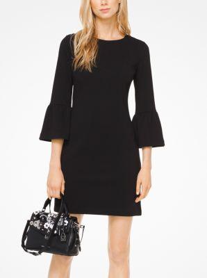 마이클 마이클 코어스 골지 나팔소매 원피스 - 블랙 Michael Michael Kors Ribbed Knit Bell-Cuff Dress,BLACK