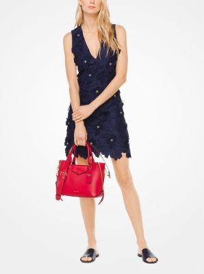 마이클 마이클 코어스 Michael Michael Kors Floral Applique Lace Dress,TRUE NAVY