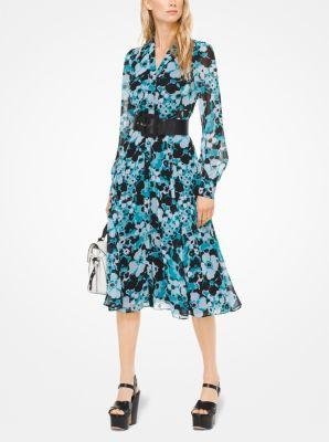 마이클 코어스 꽃무늬 쉬폰 셔츠 원피스 블루/블랙 Michael Kors Floral Chiffon Shirtdress,TILE BLUE/BLACK