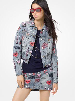 마이클 마이클 코어스 Michael Michael Kors Embroidered Denim Jacket,LGHTVNTGWSH