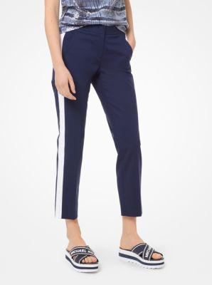마이클 마이클 코어스 스트레치 코튼 트랙 팬츠 Michael Michael Kors Double-Face Stretch-Cotton Track Pants,TRUE NAVY