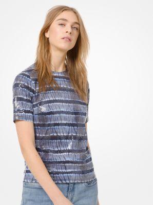 마이클 마이클 코어스 반팔티 Michael Michael Kors Sequined Tie-Dye T-Shirt,TRUE NAVY/CHAMBRAY