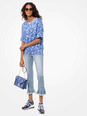 마이클 마이클 코어스 피스 프린트 코튼 반팔티 Michael Michael Kors Peace-Print Cotton-Terry Short-Sleeve Sweatshirt,LIGHT INDIGO