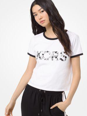 마이클 마이클 코어스 반팔티 Michael Michael Kors Embellished Cotton-Jersey T-Shirt,WHITE