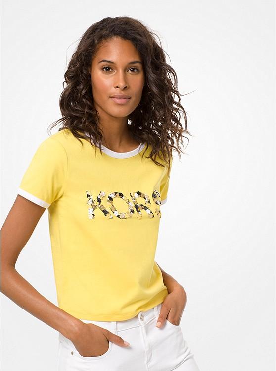 Embellished Cotton-Jersey T-Shirt | Michael Kors