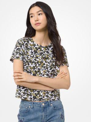 마이클 마이클 코어스 카모 코튼 반팔티 Michael Michael Kors Butterfly Camo Cotton T-Shirt,SMOKEY OLIVE