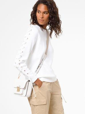 마이클 마이클 코어스 스웻 셔츠 Michael Michael Kors Cotton Lace-Up Sweatshirt,WHITE