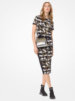 마이클 마이클 코어스 스트레치 반팔티 Michael Michael Kors Camouflage Stretch-Viscose Jacquard T-Shirt,BLACK/IVY