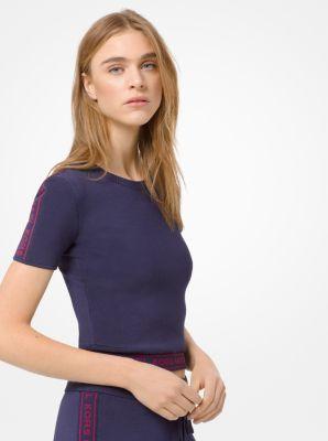 마이클 마이클 코어스 크롭 반팔티 로고 스트레치 Michael Michael Kors Logo Tape Stretch-Viscose Cropped T-Shirt