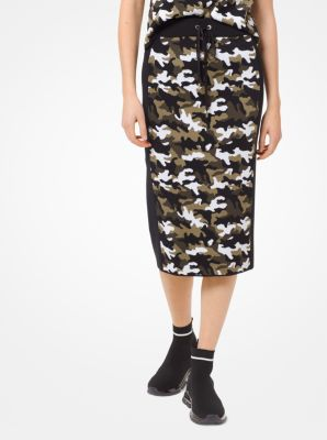 마이클 마이클 코어스 Michael Michael Kors Camouflage Stretch-Viscose Jacquard Skirt,BLACK/IVY