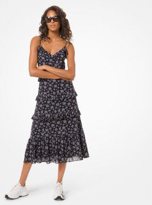 마이클 마이클 코어스 Michael Michael Kors Wildflower Georgette Ruffled Dress,BLACK/WHITE