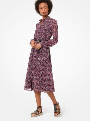 마이클 마이클 코어스 Michael Michael Kors Floral Chiffon Shirtdress,BLACK/ELECTRIC PINK