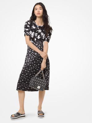 마이클 마이클 코어스 임벨리시드 보태니컬 원피스 (윤아 착용) Michael Michael Kors Embroidered Botanical-Print Dress, BLACK/WHITE