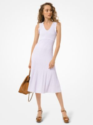 마이클 마이클 코어스 골지 민소매 원피스 Michael Michael Kors Ribbed Stretch Viscose Ruffle-Trim Dress