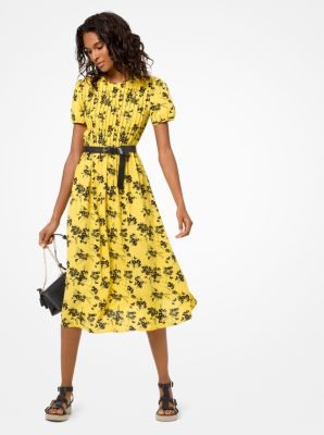 마이클 마이클 코어스 보태니컬 원피스 (윤아 착용) Michael Michael Kors Botanical-Print Crepe Dress,GOLDEN YELLOW/BLACK