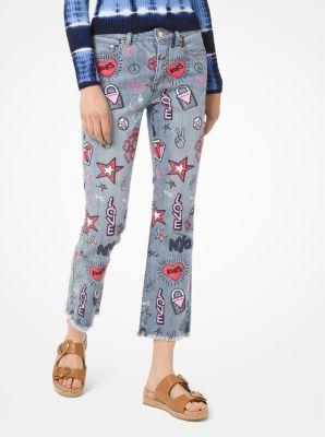 마이클 마이클 코어스 크롭 청바지 Michael Michael Kors Embroidered Cropped Jeans,LGHTVNTGWSH