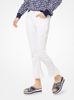 마이클 마이클 코어스 청바지 Michael Michael Kors Izzy Stretch-Cotton Flounce Jean,WHITE