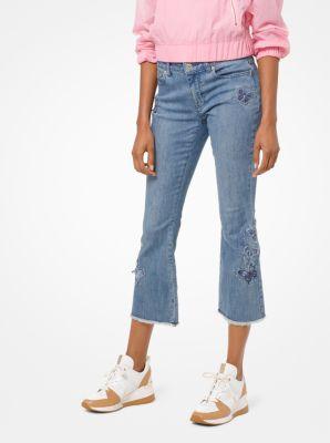 마이클 마이클 코어스 청바지 Michael Michael Kors Butterfly Embroidered Cropped Jeans,ANTIQUE WASH