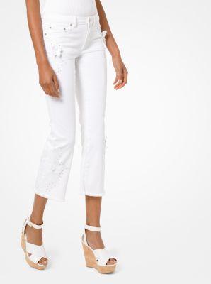 마이클 마이클 코어스 크롭 진 Michael Michael Kors Butterfly Applique Cropped Jeans,WHITE