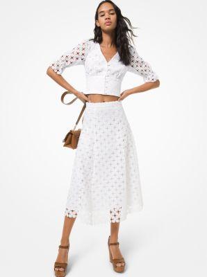 마이클 마이클 코어스 Michael Michael Kors Floral Medallion Lace Skirt,WHITE