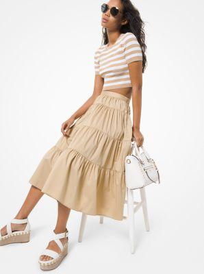 마이클 마이클 코어스 Michael Michael Kors Cotton Poplin Tiered Skirt