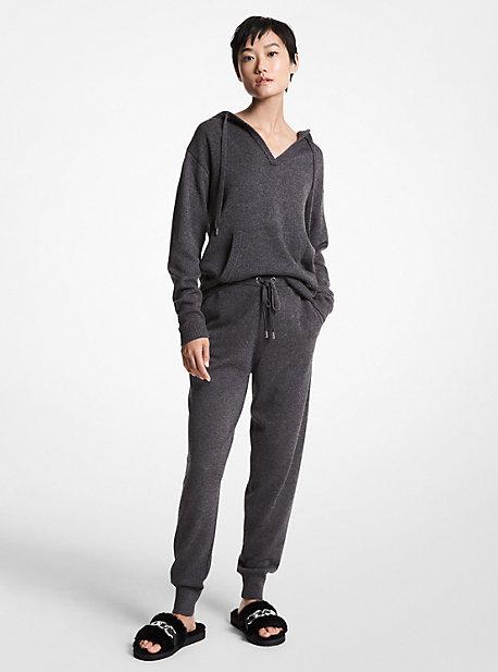 MK Pantalon de jogging en mélange de laine mérinos - CHARCOAL HEATHER - Michael Kors