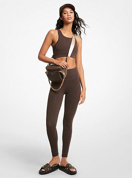 MK Legging en nylon extensible à logo - CHOCOLAT(MARRON) - Michael Kors