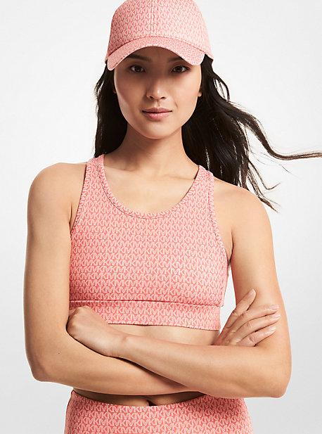 MK Soutien-gorge de sport à dos nageur en nylon mélangé avec logo - TEA ROSE - Michael Kors