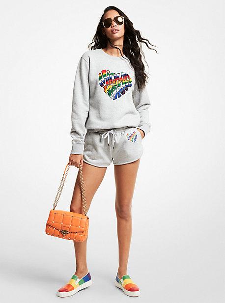 MK Sweat-shirt en mélange de coton biologique avec cœur aux couleurs du mouvementLGBTQ et à logo - GRIS PERLE(GRIS) - Michael Kors