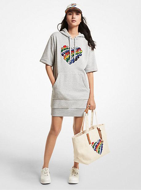 MK Robe à capuche en mélange de coton biologique avec cœur aux couleurs du mouvement LGBTQ et à logo - GRIS PERLE(GRIS) - Michael Kors