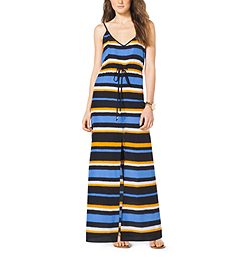 Striped Crepe Maxi Dress