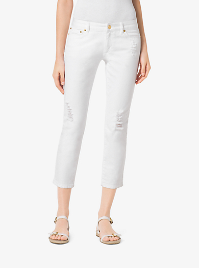 Distressed Cropped Jeans by Michael Kors