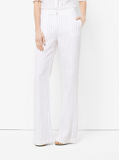 Striped Linen Flared Trousers by Michael Kors