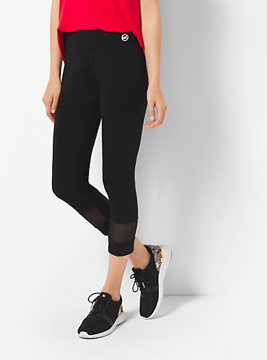 Active Cropped Stretch-Cotton Leggings by Michael Kors