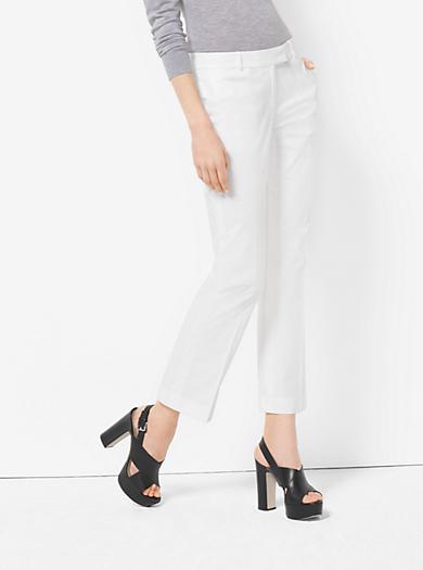 Cropped Cotton-Poplin Trousers by Michael Kors