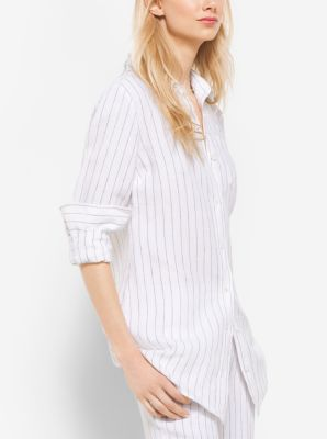 French-Cuff Striped Linen Shirt  by Michael Kors