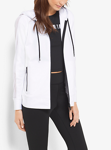 Active Mesh-Trim Stretch-Cotton Hoodie by Michael Kors