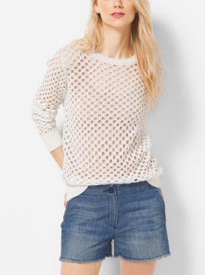 Crochet Cotton Crewneck Sweater by Michael Kors