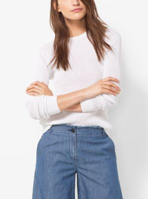 Ribbed Cotton and Silk Sweater by Michael Kors