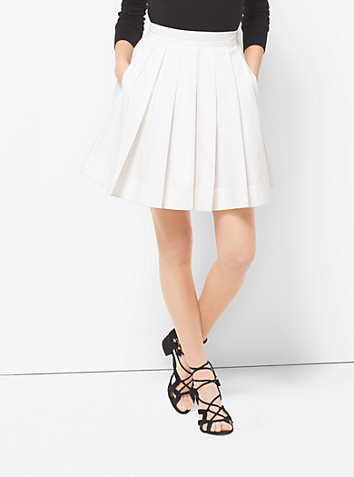 Pleated Cotton-Poplin Skirt by Michael Kors