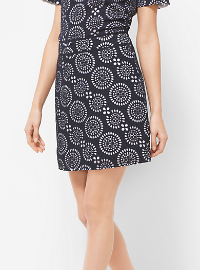 Eyelet-Embroidered Print Skirt by Michael Kors