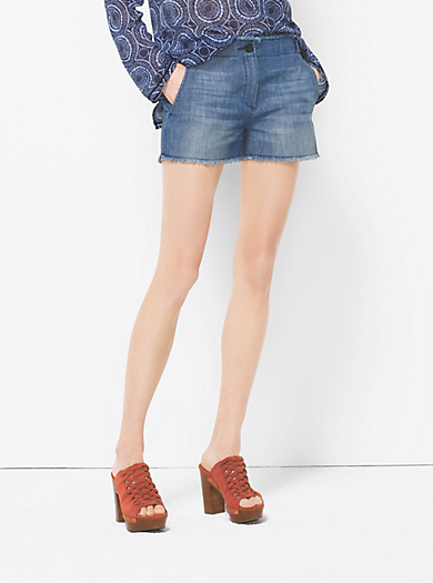 Washed-Denim Shorts by Michael Kors