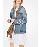 Floral-Embellished Oversized Denim Jacket